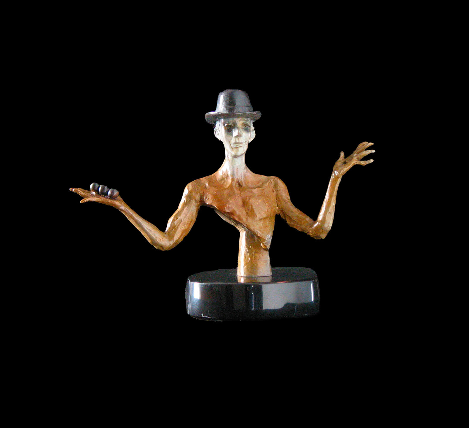 Juggler Bust a small figurative sculpture by Andrew DeVries