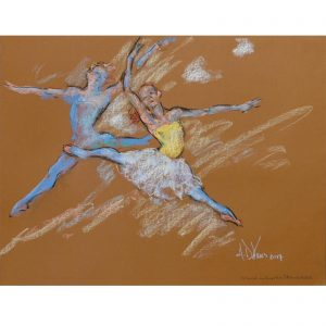 A dance pastel drawing of a rehearsal of La Bayadere by Andrew DeVries