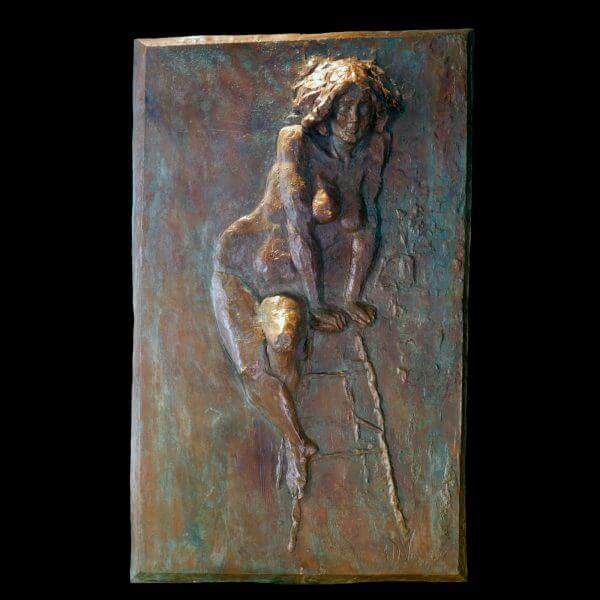 La Musa a high relief figurative bronze wall sculpture by Andrew DeVries