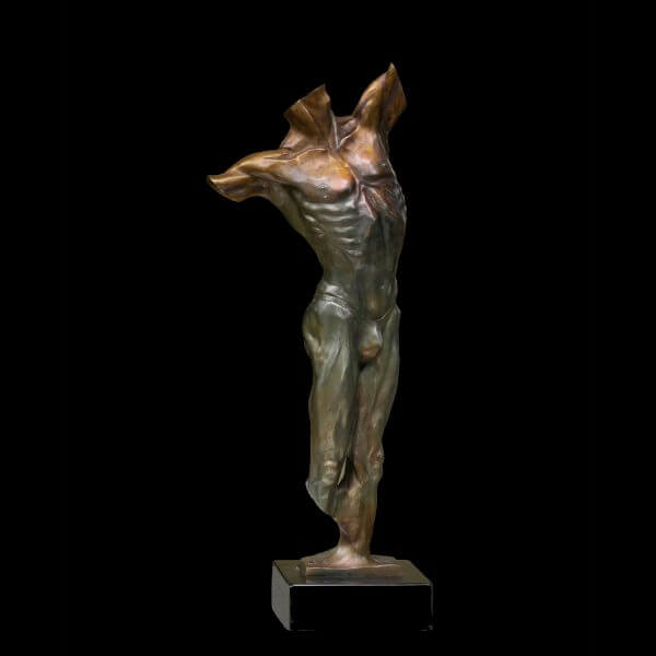 Legend a male figurative bronze torso sculpture by sculptor Andrew DeVries