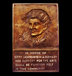 Bronze relief portrait of Kitty Lictenstein by Andrew DeVries commissioned by the City of Pittsfield installed at the Lictenstein Center 28 Renne Avenue Pittsfield Massachusetts