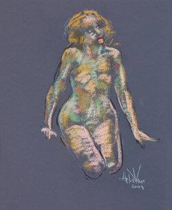 Looking for the light a figurative pastel drawing of a live model by Andrew DeVries