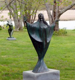 Madonna a Bronze Outdoor Garden Sculpture by Andrew DeVries