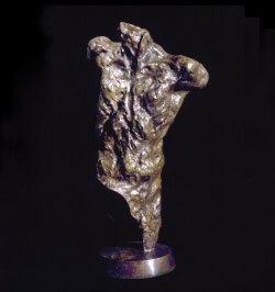 Messenger a life size male bronze figurative torso by sculptor Andrew DeVries