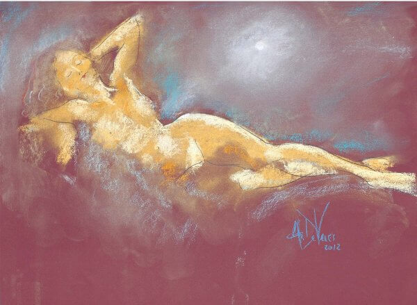 Misty Moonlight a figurative pastel drawing a figurative pastel drawing of a live model by Andrew DeVries