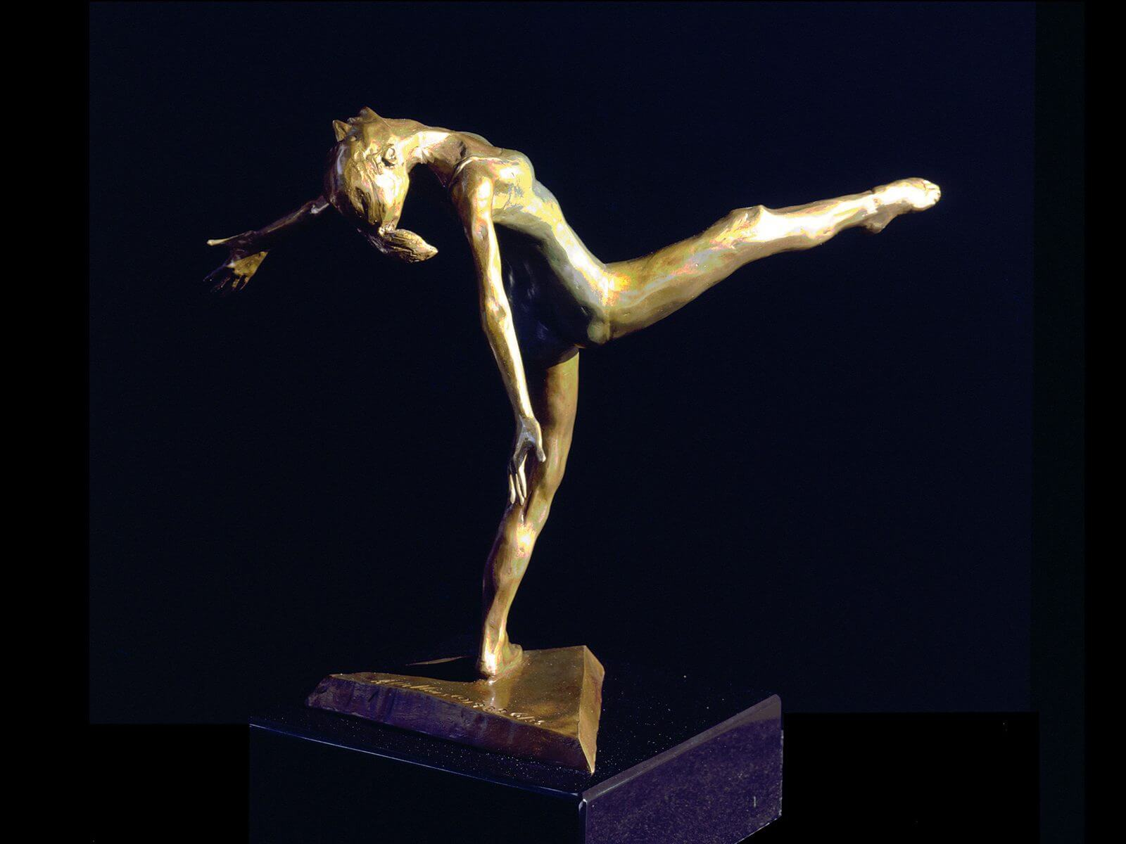 Modern Dancer a medium size bronze modern dancer figurative sculpture by Andrew DeVries