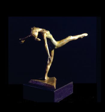 Modern Dancer a medium size bronze modern dancer figurative sculpture by Andrew DeVries