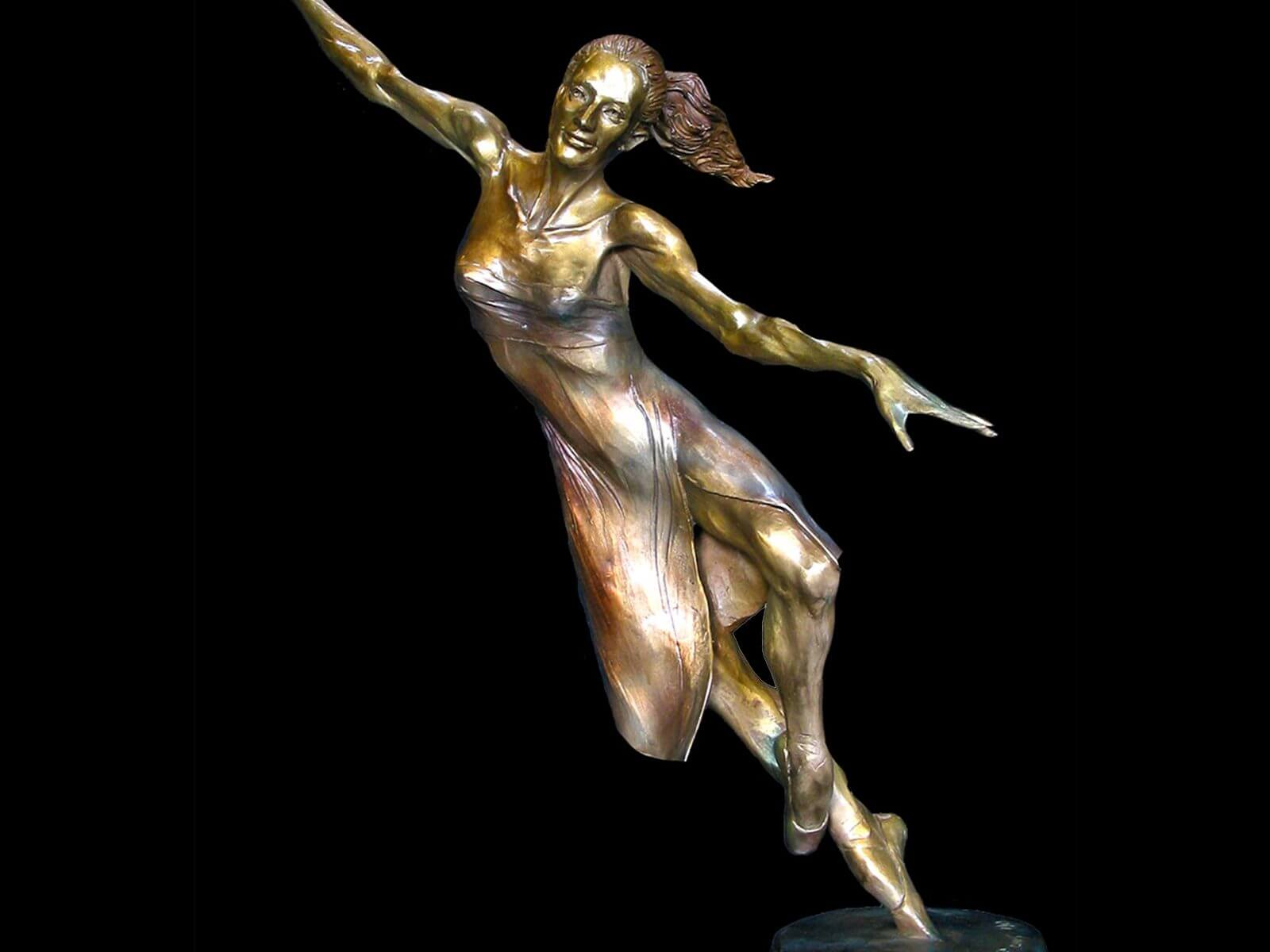 Moon beam a female ballet bronze dance sculpture by sculptor Andrew DeVries