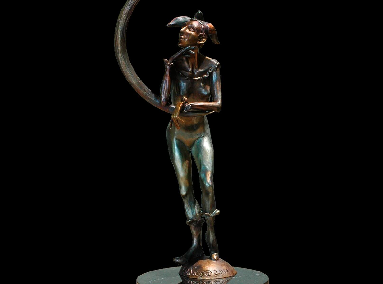 Moonlight a female bronze jester figurative sculpture by Andrew DeVries