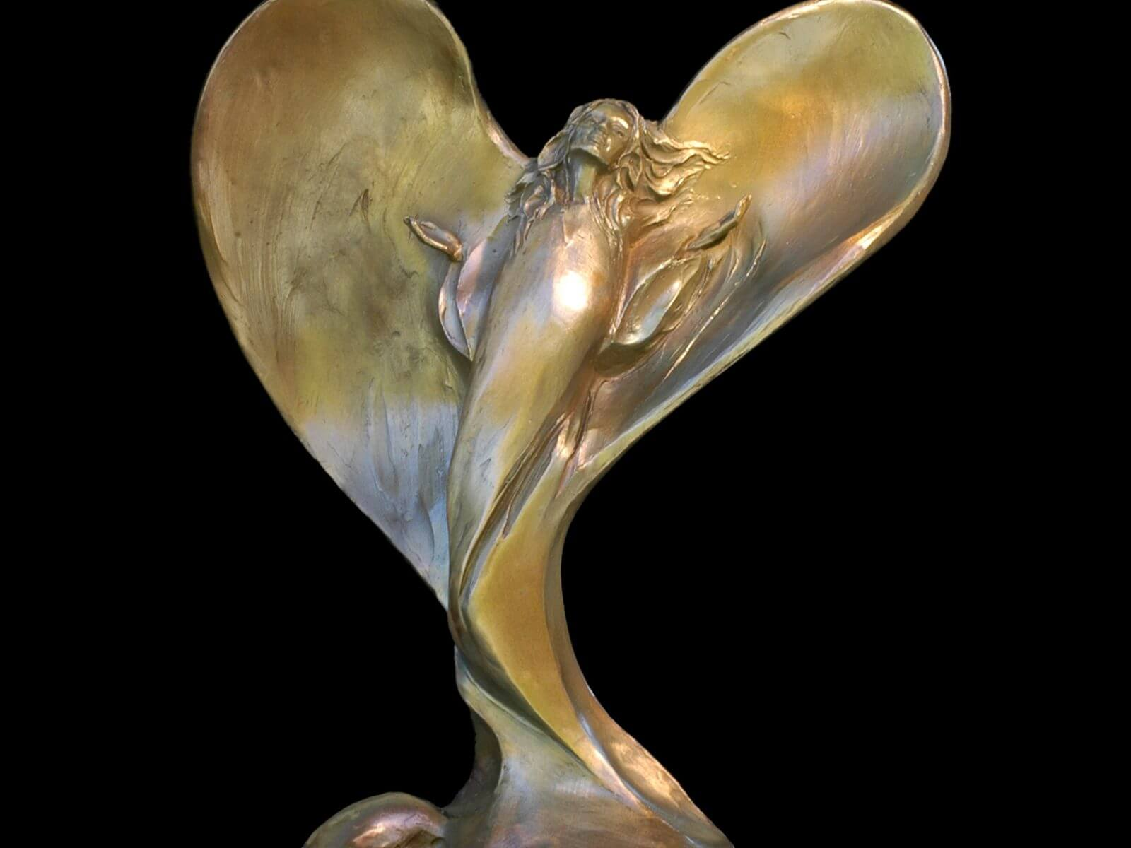 Morning Glory a figurative bronze angel sculpture bysculptor Andrew DeVries