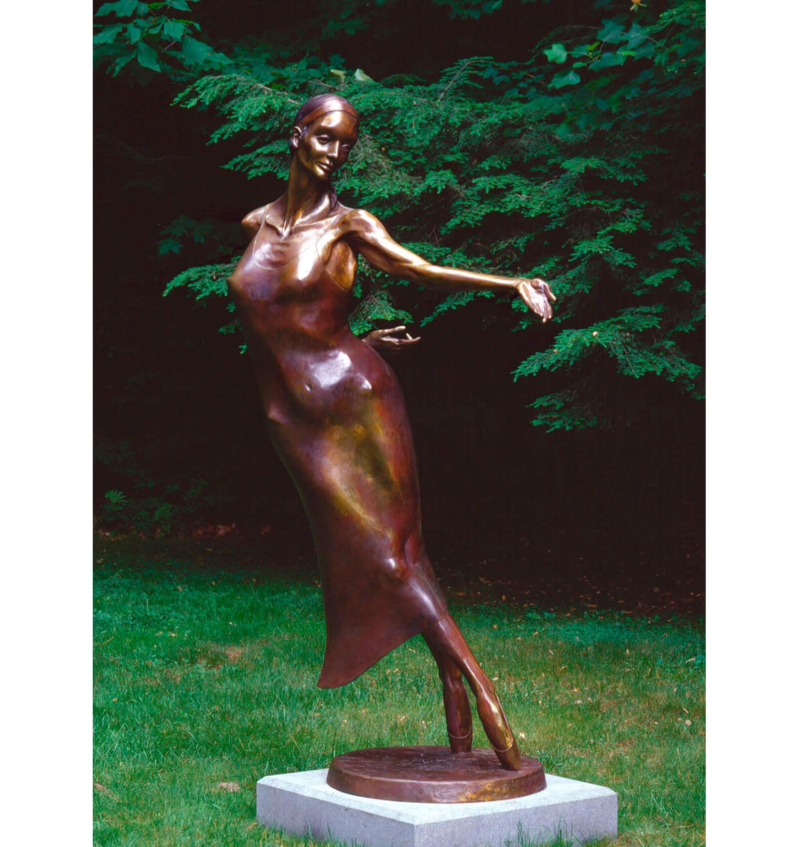 Nocturne a Life size Bronze Figurative ballet dancer Outdoor Garden Sculpture by Andrew DeVries