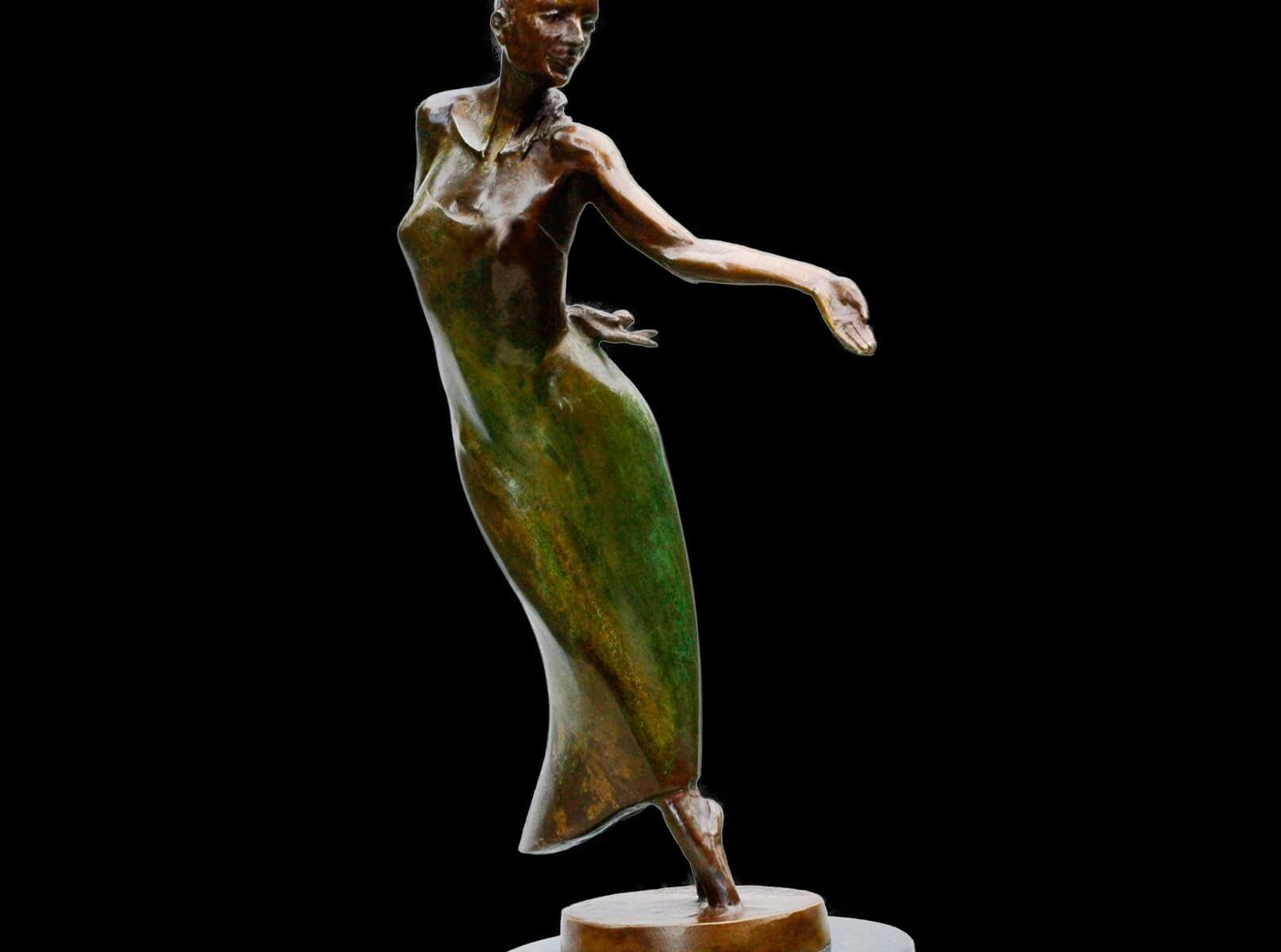 Nocturne a small figurative ballet bronze dance sculpture by Andrew DeVries