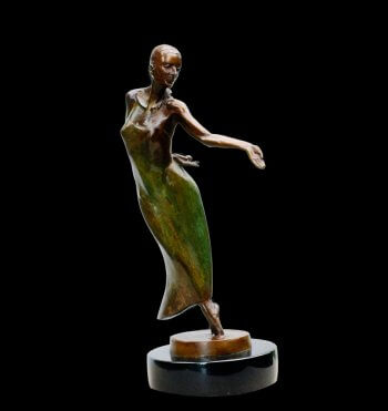 Nocturne a small figurative ballet bronze dance sculpture by Andrew DeVries