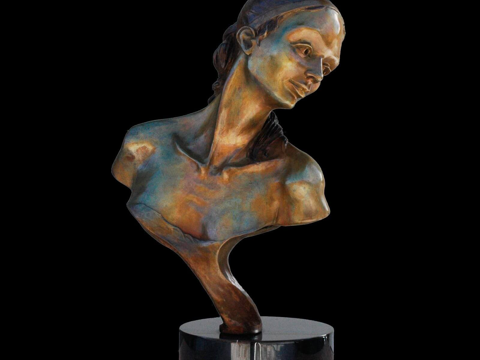 Nocturne bust of a female bronze ballet dancer by sculptor Andrew DeVries