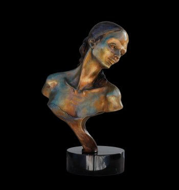 Nocturne bust of a female bronze ballet dancer by sculptor Andrew DeVries