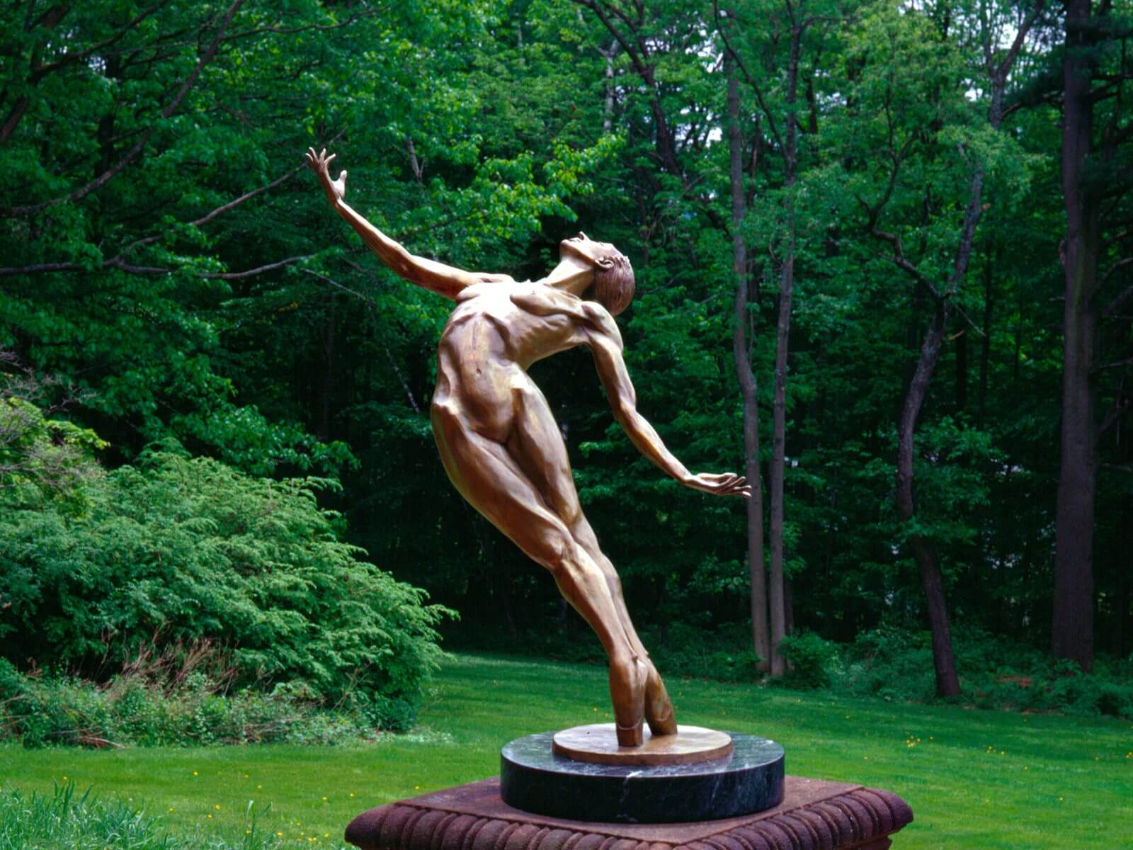 Plieades a bronze female nude Outdoor Garden Sculpture by Andrew DeVries