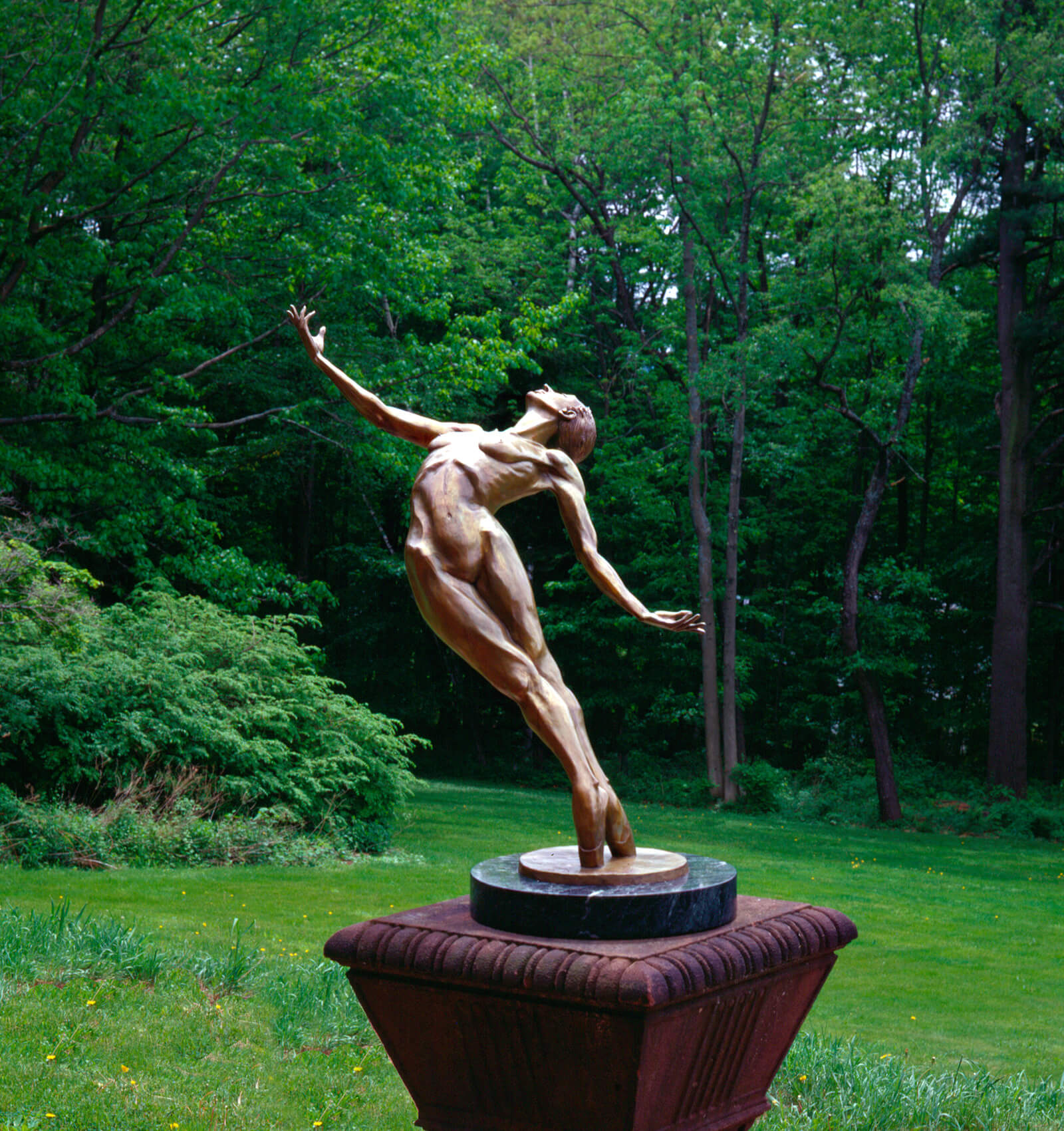Plieades a bronze female nude Outdoor Garden Sculpture by Andrew DeVries