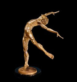 Odyssey a medium size male bronze dance figurative sculpture by Andrew DeVries