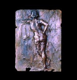 Paris Sketch a bronze figurative relief wall sculpture by Andrew DeVries