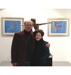 Sculptor Andrew DeVries and Gallery Director Patricia Purdy