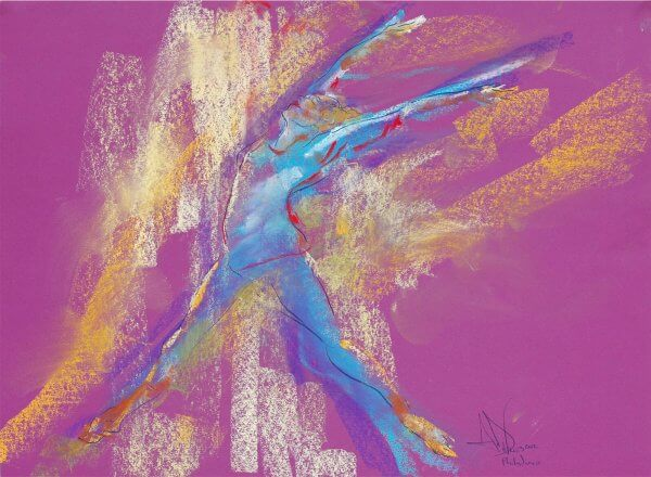 Philadanco a dance pastel painting by Andrew DeVries created from a sketch the artist did at the dance studio. Copyright 2012.
