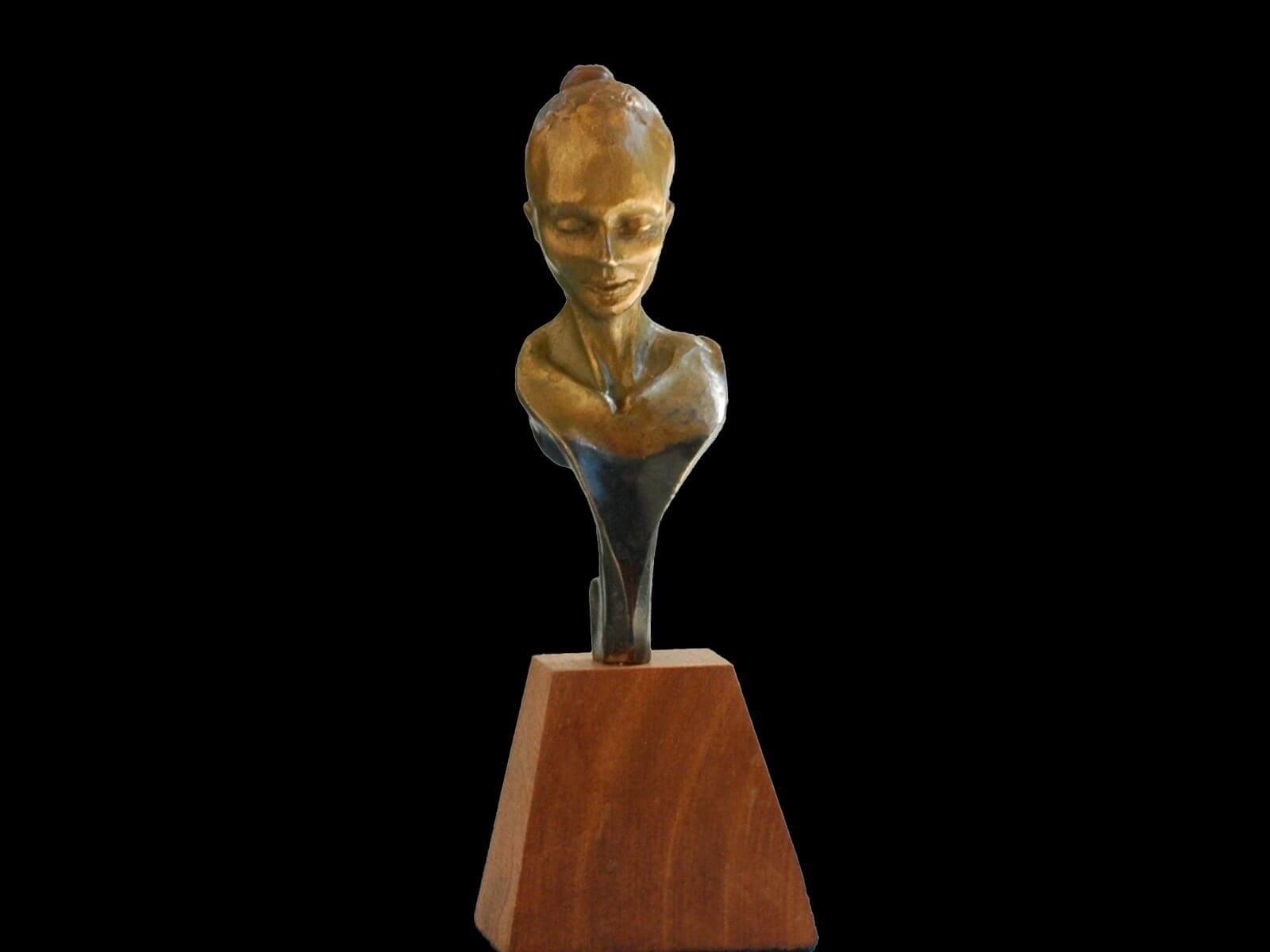 Phoenix Bust a small figurative sculpture by Andrew DeVries