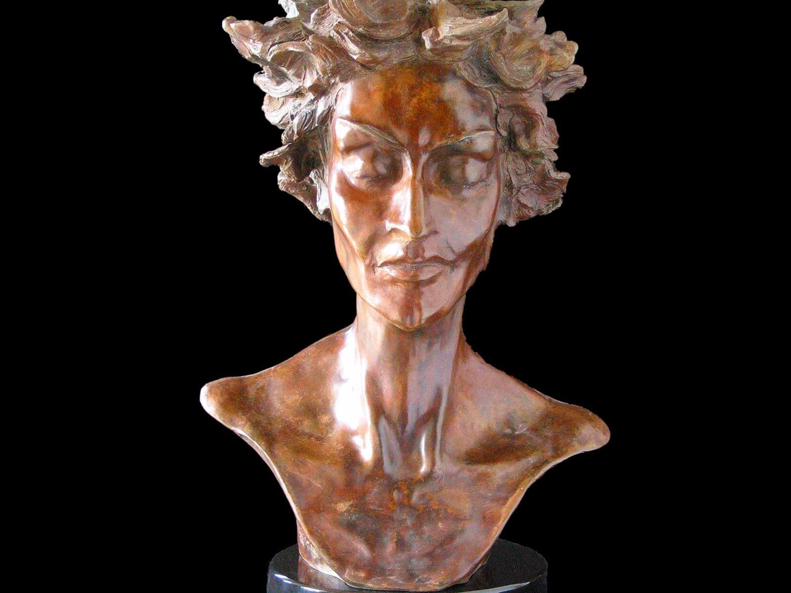 Primavera a female bust figurative bronze sculpture by Andrew DeVries