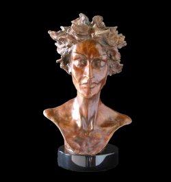 Primavera a female bust figurative bronze sculpture by Andrew DeVries