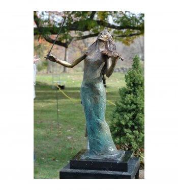 Rapture a figurative Bronze Outdoor Garden Sculpture by Andrew DeVries