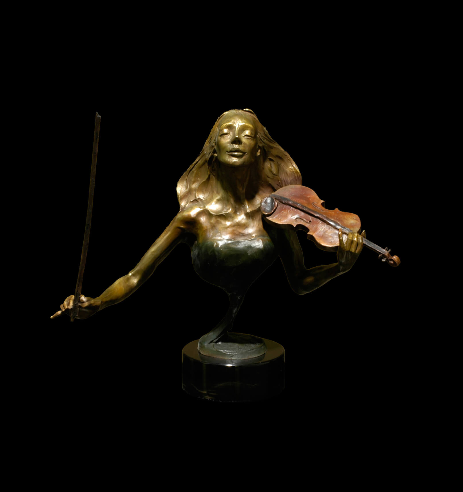 Rapture Bust a female violinist bronze figurative sculpture by Andrew DeVries