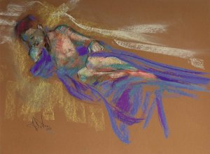 Reflections a figurative pastel a figurative pastel drawing of a live model by Andrew DeVries