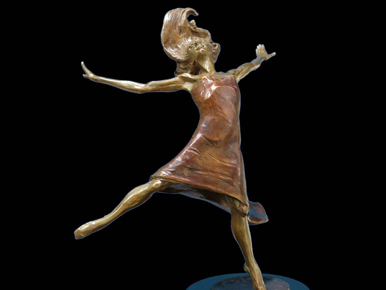 Rhapsody a medium size ballet dancer bronze figurative sculpture by Andrew DeVries