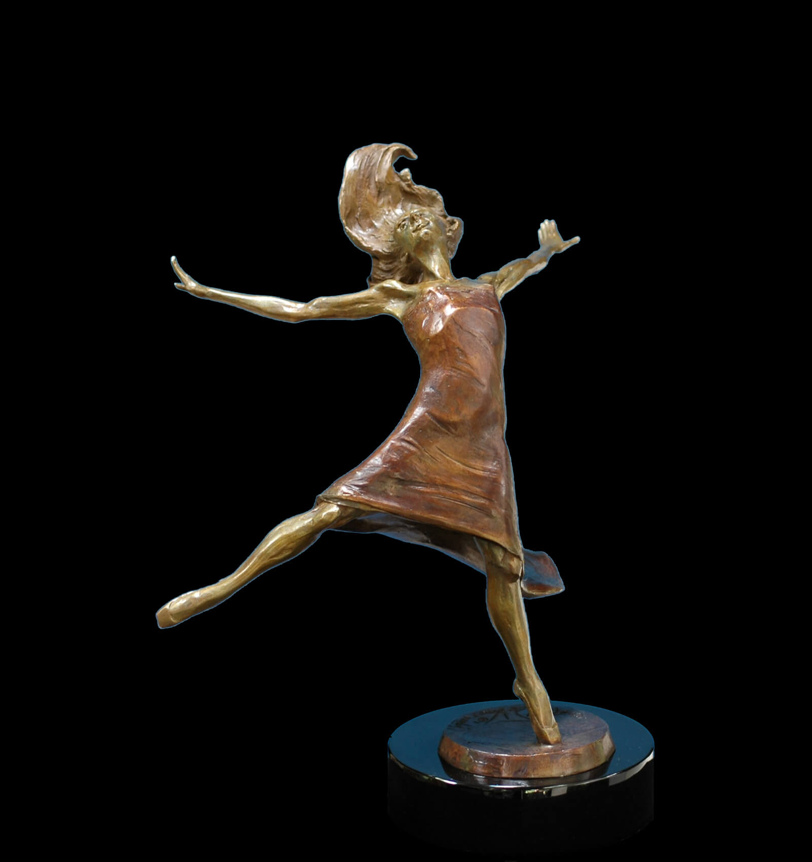 Rhapsody a medium size ballet dancer bronze figurative sculpture by Andrew DeVries