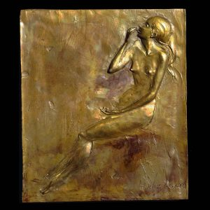 Roasted Cashews a bronze figurative wall relief sculpture by Andrew DeVries