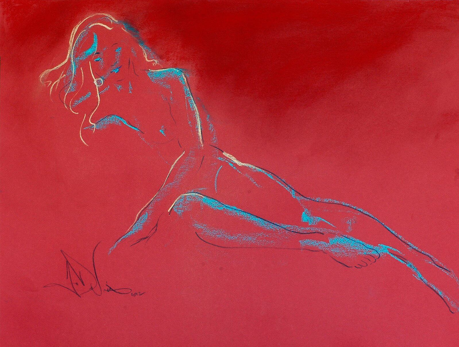 Shades of Red a figurative pastel drawing of a live model by Andrew DeVries