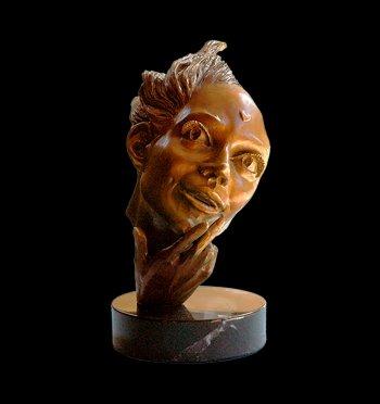She's in Love romantic bronze figurative sculpture by Andrew DeVries