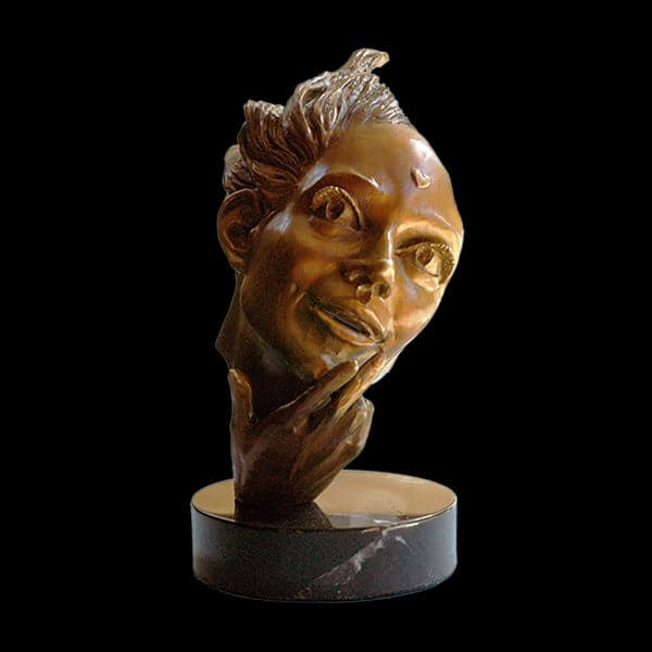 She's in Love romantic bronze figurative sculpture by Andrew DeVries