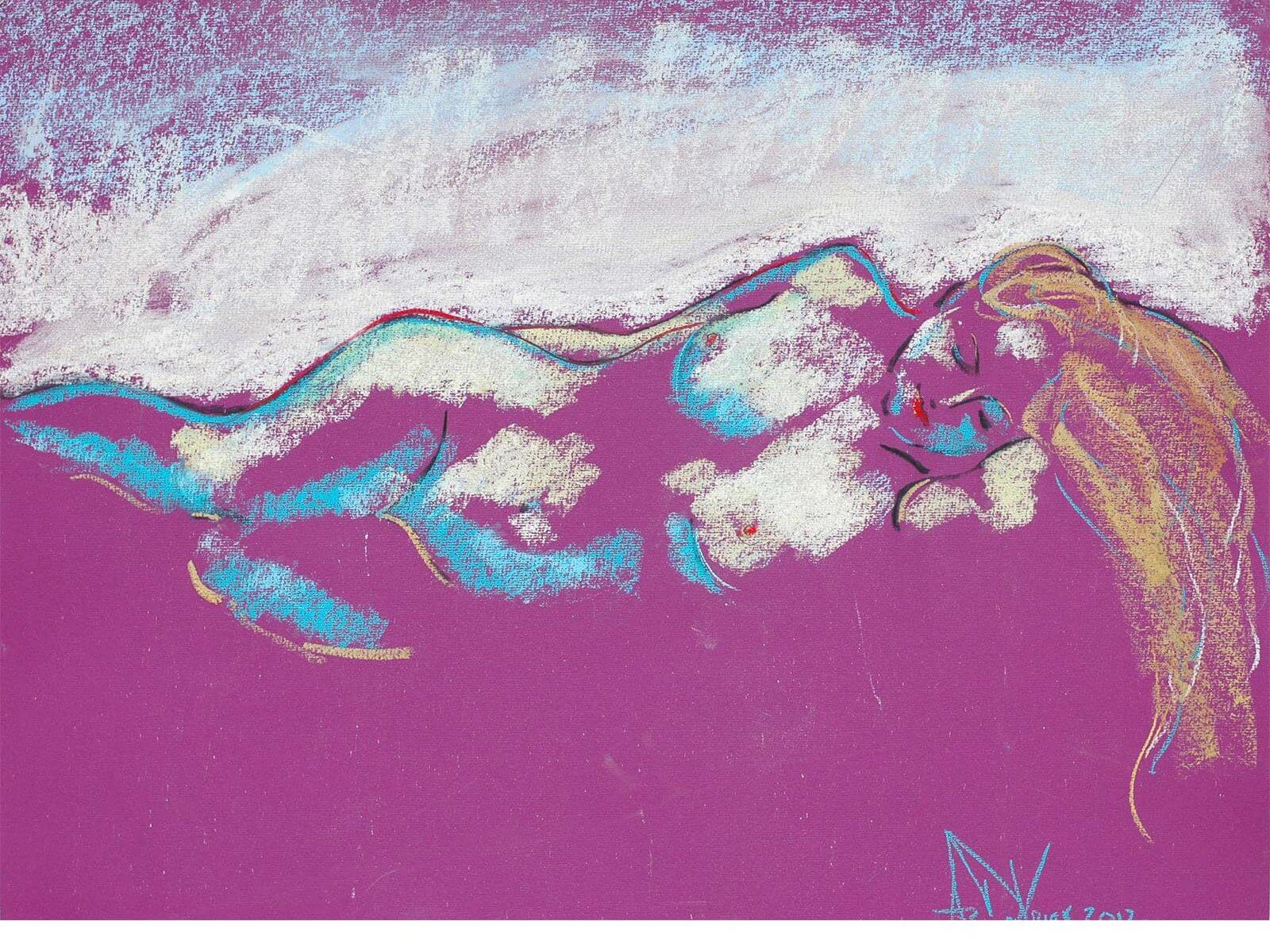 Snow Maiden a figurative pastel drawing of a live model by Andrew DeVries