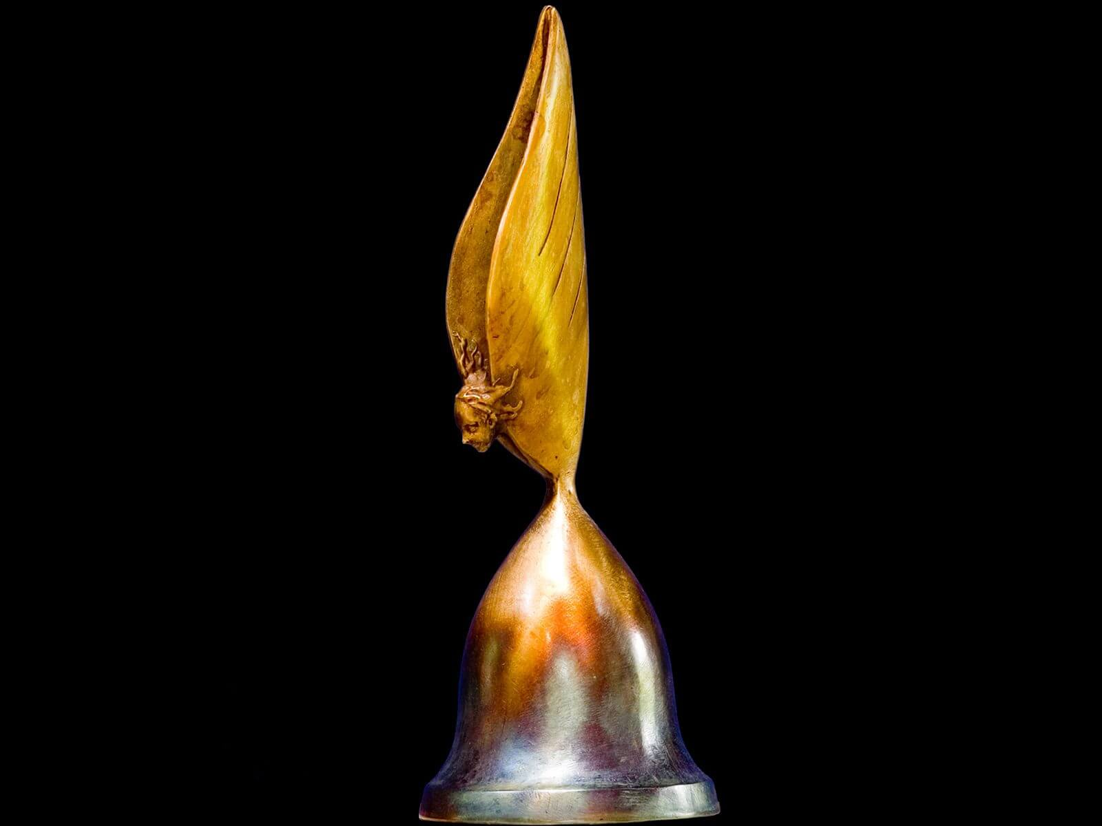 Song of an Angel bell a small figurative sculpture by Andrew DeVries