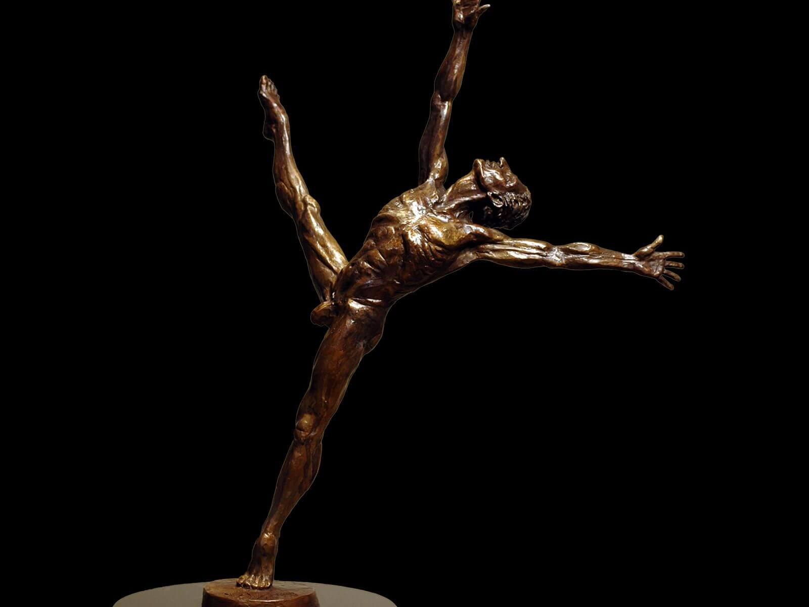 Soul Dance a medium size male bronze dance figurative sculpture by Andrew DeVries