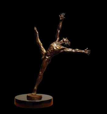 Soul Dance a medium size male bronze dance figurative sculpture by Andrew DeVries
