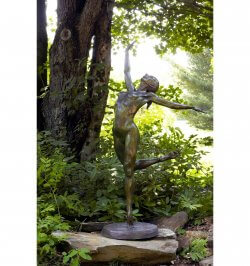 Sparrow lifesize female nude dance bronze sculpture by Andrew DeVries