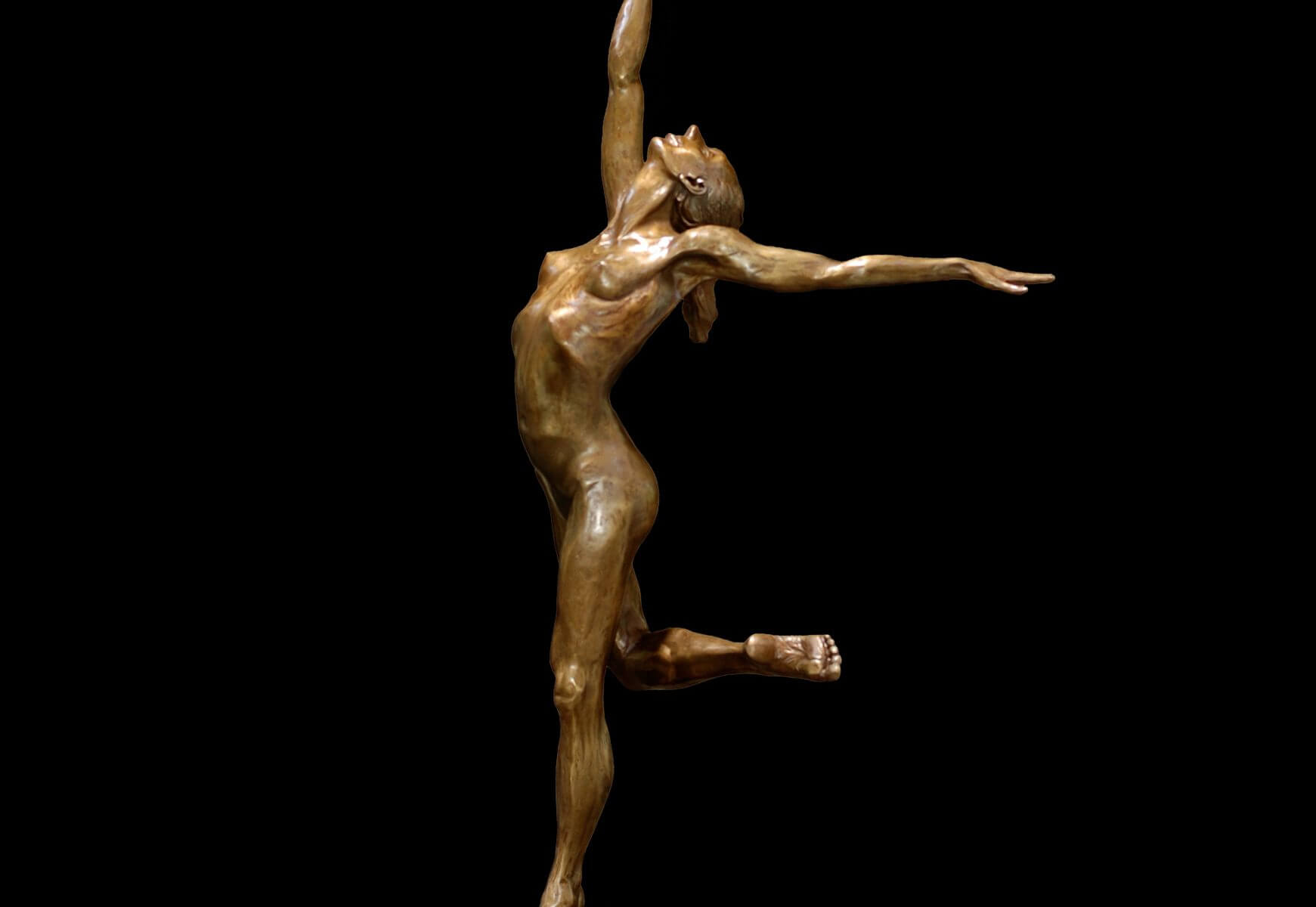 Sparrow a half life sized female nude bronze dancer by Andrew DeVries