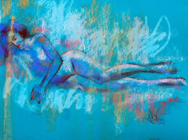 Spring Rain an original pastel painting of a female nude by Andrew DeVries copyright 2014