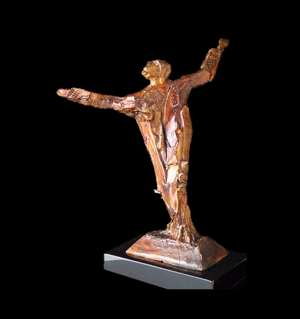 St Francis a small figurative sculpture by Andrew DeVries