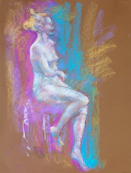 Summer memories a figurative pastel drawing a figurative pastel drawing of a live model by Andrew DeVries