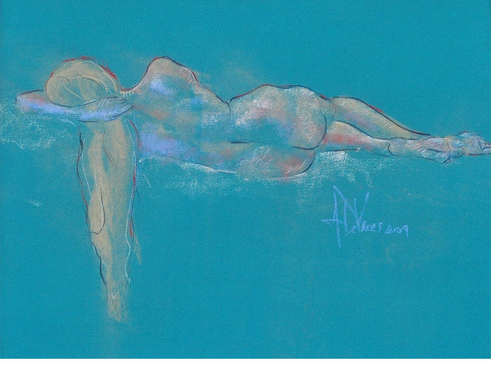 Sweet Charity an original pastel painting of a female nude by Andrew DeVries copyright 2009