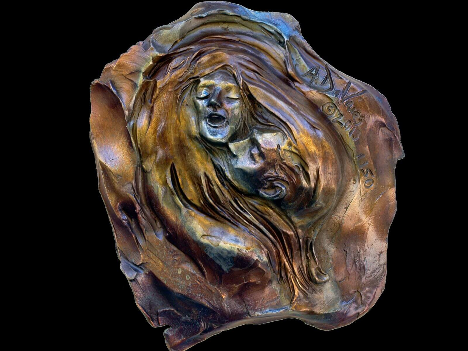 Sweet Surrender a romantic small bronze relief by sculptor Andrew DeVries