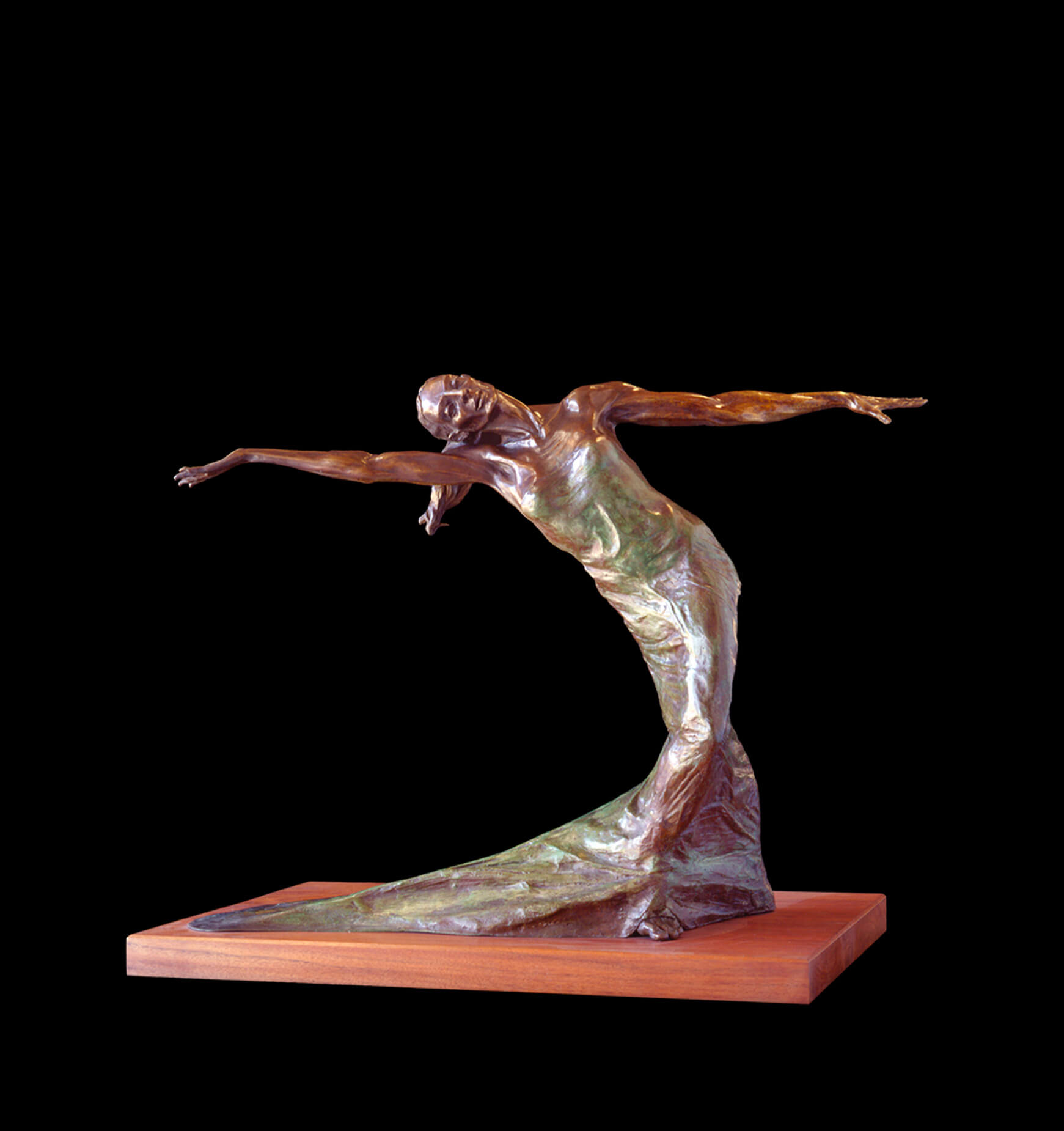 Terpsichore a large fremale bronze dancer by sculptor Andrew DeVries