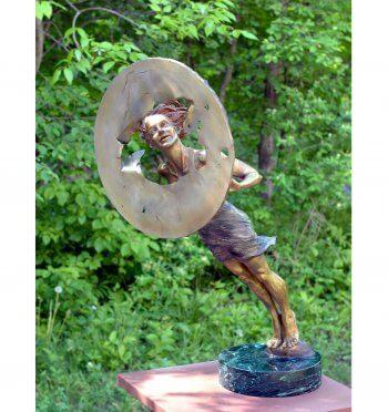 The Glimpse a Bronze Outdoor Garden Sculpture by Andrew DeVries